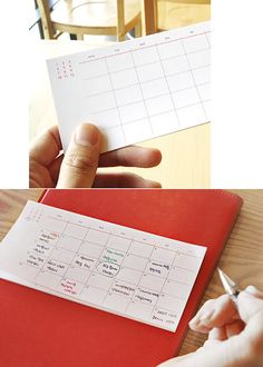 Wicked smart monthly planner sticky notes.  I love this idea for working out, vacation or other plans.