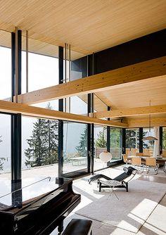 Richard Neutra | Rentsch House, Wengen, Switzerland, 1964 Love all the glass with wood!