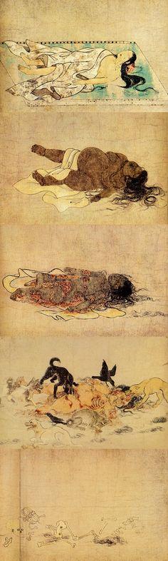 사람이 죽어 부패한 뒤 백골이 되기까지의 과정을 그림으로 그린  '구소시에마키'. | 바다출판사 제공