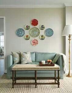 Home Interior Decoration .Home Interior Decoration Plate Wall Decor, Wall Plates, Hanging Plates, Home And Deco, House Colors, Interior Inspiration, Living Room Decor, Diy Home Decor, Interior Design