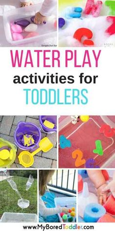 water play activities for babies and toddlers pin. Great summer fun for 1 year olds, 2 year olds and 3 year olds. Toddler water play ideas and activities. #myboredtoddler #waterplay #toddleractivity #toddleractivities #sensroyplay #outdoorplaytoddlers #toddleractivitiesoutside #summeractivities #summerkids #homeschoolfun