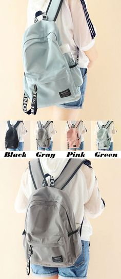 3a67f63f8f66 Fresh Young Simple Waterproof Pure Color Letters Belts School Bag Travel  Backpack for big sale!