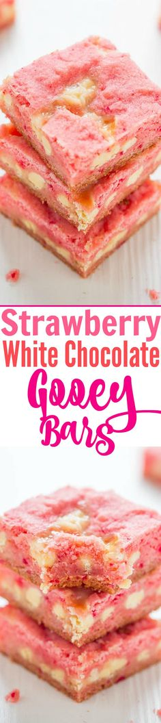 Strawberry White Chocolate Gooey Bars - An EASY five-ingredient recipe for soft and chewy strawberry bars studded with white chocolate chips and spiked with sweetened condensed milk for the GOOEY win!!