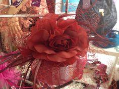 Satin Flower & Netting Fascinator.