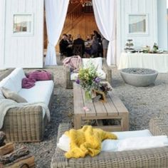 Backyard with curtains