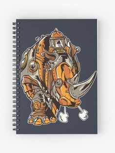 Grunge Steampunk Rhinoceros Notebook.    Handsome grunge steampunk rhino with mechanical gears looking very retro   and vintage.  Great design for the rhino lovers who want a rhinoceros   to look a bit different.    #rhinoceros #rhino #steampunk #victorian #mechanical #vintage #retro   #grunge #giftideas #fashion #homedecor #artsandcrafts #stickers   #redbubblestickers #redbubble #art #redbubbleshop #ad @giftsbyminuet Mechanical Gears, Red Bubble Stickers, Rhinoceros, Canvas Prints, Art Prints, Spiral, Grunge, Steampunk, Arts And Crafts