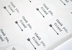 "Thank You Friend -  Envelope Seals Stickers - 12 Count 1.5"" Diameter. $2,25, via Etsy."