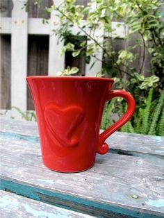 Vintage Valentine Mug Red Heart Ceramic Mug by UnderTheSycamores