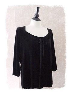 b00c6df2474a0 Jaclyn Smith Womens Plus Size 1X Tunic Top 3 4 Sleeve Black Black Tunic