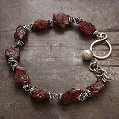 chunky bracelets sterling silver ruby rough garnet by ewalompe Link Bracelets, Chain Bracelets, Blue Bracelets, Chain Jewelry, Jewellery, Garnet Bracelet, Gemstone Jewelry, Unique Jewelry, Sterling Silver Bracelets