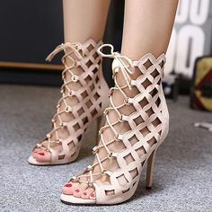 Shoespie Lace Up Cage Sandals