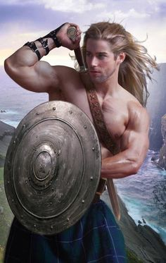 Long hair and a kilt, but he stepped off a romance novel cover. Ha ha!
