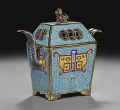 A SMALL CLOISONNE ENAMEL ARCHAISTIC CENSER AND COVER 18TH/19TH CENTURY