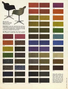 Color sheet for upholstery options of the Eames fiberglass chair, 1968. Herman Miller. Source
