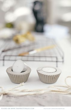 Concrete + Silicone Cupcake Liner = Cute Tealight Candle Holders