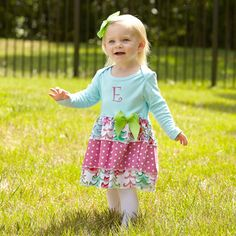 Baby Girls Christmas Tree Aqua Dress – Lolly Wolly Doodle