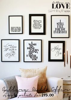SPECIAL OFFER Any 6 A4 Prints Gallery Wall by lettersonlove, £45.00