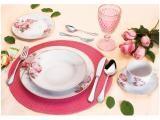 Aparelho de Jantar 30 Peças Casambiente - Porcelana Redondo Branco e Rosa Vintage Rose