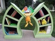 Whimsical Curvy Dr Seuss/ Alice In Wonderland Children's Curved Bookshelf Set