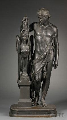 Pierre Eugene Emile-Herbert (French, 1828-1893) Bronze Figure of Oedipus, Oedipe, representing the riddle of the Sphinx, with Oedipus standing by a draped, seated sphinx.