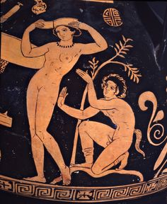 Oinochoe con ninfa e satiro, particolare, IV a.C. Museo Archeologico Nazionale Jatta, Ruvo di Puglia. Cultura greca e magno-greca