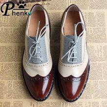 9d66b3b1fffaf Nuevo 2016 cuero genuino hecho a mano clásico calidad zapatos planos de  piel mujeres zapatos oxford