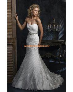 Festliches plissiertes Brautkleid aus Satin Bodenlang A-Linie Trägerlos im Meerjungfraustil