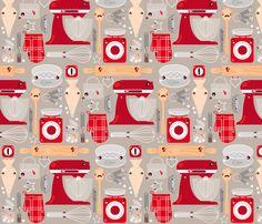 Baking stuff fabric by verycherry on Spoonflower - custom fabric