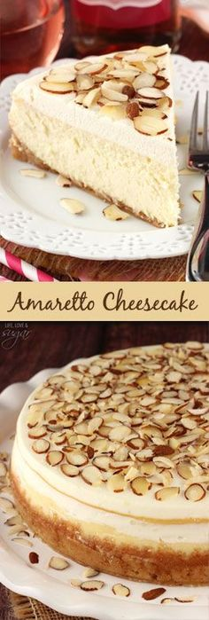 Amaretto Cheesecake - thick, creamy and so good! Topped with Amaretto mousse! Darryl always requested this for his birthday.