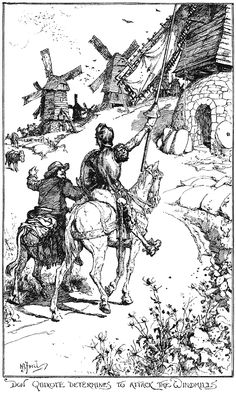 """Illustration by Henry J. Ford for 'Don Quixote' from """"The Red Book of Romance"""" Ink Illustrations, Illustration Artists, Don Quixote Quotes, Man Of La Mancha, Dom Quixote, Red Books, Black And White Drawing, Fantasy Landscape, Retro Art"""