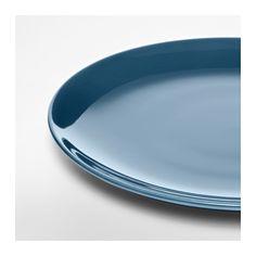 FÄRGRIK Plate, dark turquoise
