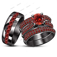 3.50 Round Red Garnet His & Her 4 Pieces Trio Ring Set in 14K Black Gold Finish