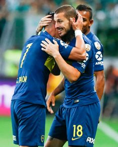 Dario Benedetto of Boca Juniors celebrates with teammate Cristian. Argentina Football, October 31, Manchester City, Grande, Two By Two, Soccer, Goals, Celebrities, Amor