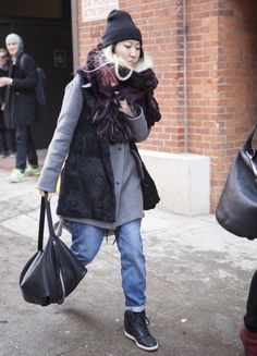 Street style seen during NYFW Fall 2014 (Feb 2014) - worn with beanie