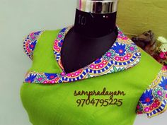 Green with Blue Designer Blouse Blouse Back Neck Designs, Kurti Neck Designs, Saree Blouse Designs, Gala Design, Blouse Desings, Sumo, Blouse Models, Beautiful Blouses, Neck Pattern