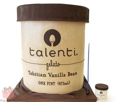 An enormous replica in cake form of Talenti brand gelato for an employee of the company.   #cake