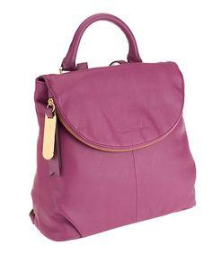 Look at this #zulilyfind! Amethyst Smooth Leather Zip-Flap Backpack #zulilyfinds