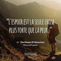 « L'espoir est la seule chose plus forte que la peur. » - dans The Power Of Attraction (sur Wattpad) https://www.wattpad.com/67166813?utm_source=ios&utm_medium=pinterest&utm_content=share_quote&wp_page=quote&wp_uname=deslauriers_716&wp_originator=xt8OneMI7IukJzp4OyiTW%2FLL1PPoR%2Bbsco9QrhKrlewasMuV7CZMucd0z91X0Li%2FHNDEdioGWfAVveVb6buWj9dGof9KhtuW%2Bg1xhHQlABjOASN%2BsIuICjsNOwGzvNwE #quote #wattpad