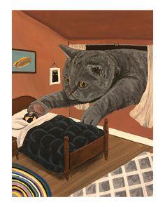 """Artwork by American painter and illustrator Danial Ryan"" Cat Drawing, Aesthetic Art, Cat Art, Art Inspo, Original Paintings, Illustration Art, Illustrations, Lion Sculpture, Drawings"