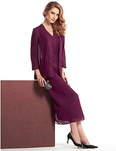 Sheath/Column Mother of the Bride Dress - Grape Tea-length 3/4 Length Sleeve Chiffon - USD $ 129.99