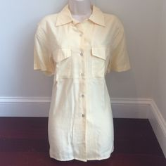 NWT Soft Button Down Blouse Soft buttercup yellow. 70% silk, 30% cotton so feminine. Discount with bundle  Silkland Tops Button Down Shirts