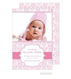 pretty pink damask birth announcements