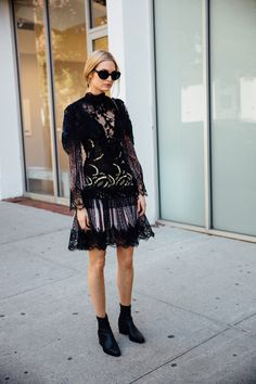 New York Fashion Week Street Style September 2016 . Lace black dress