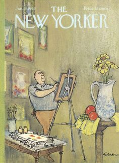 The New Yorker - Saturday, January 1966 - Issue # 2135 - Vol. 41 - N° 48 - Cover by Charles Saxon The New Yorker, New Yorker Covers, Capas New Yorker, Cover Art, Vintage Illustration Art, Magazine Illustration, Magazin Covers, Vintage Poster, Painted Vases