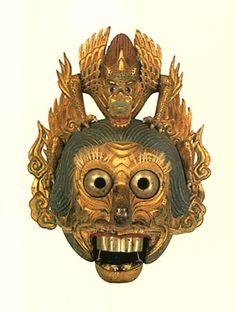 """陵王面. A mask of Japanese Bugaku. For """"Ryouou"""". Edo era. Tochigi Japan ."""