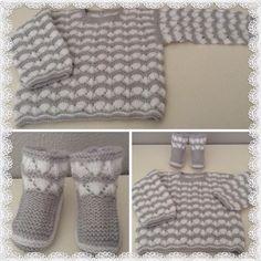 Jubón blanco y gris con patucos