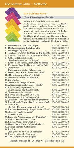 Katalog 2015 vom Verlag Heilbronn -  Seite 17 - Heftreihe Die Goldene Mitte - Kostproben von Dichtern, Weisen, Religionsstiftern und Mystikern.   www.verlag-heilbronn.de