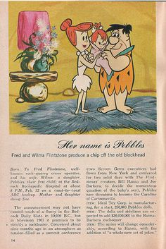 Fred and Wilma's announcement of Pebbles.