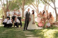 Bridal party, wedding poses, wedding photography, rustic wedding, groomsmen, bridesmaids