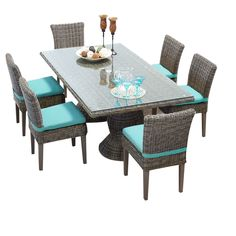 TKC Cape Cod Vintage Stone Rectangular Outdoor Patio Dining Table with 6 Armless Chairs, Aruba